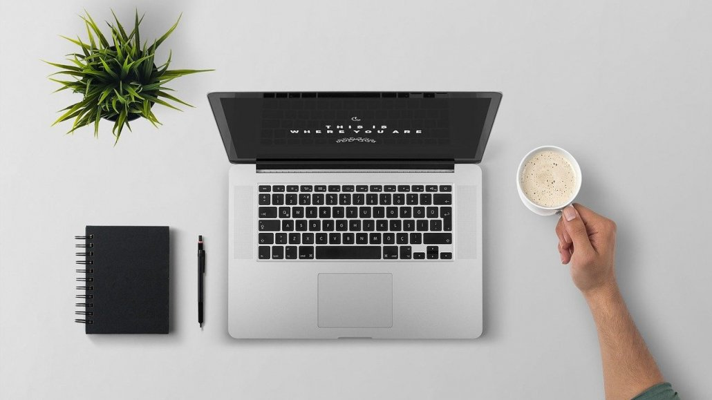 laptop, break, coffee
